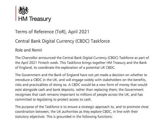 数字英镑提上日程英国成立特别工作组研究央行数字货币