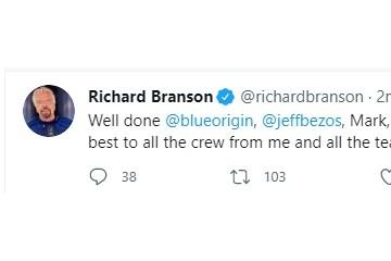 贝索斯太空之旅圆满结束维珍银河创始人布兰森表示祝贺