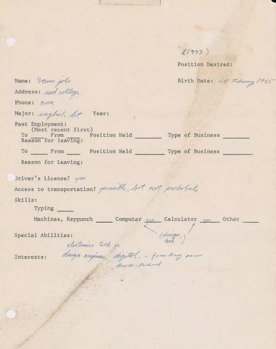 乔布斯1973年求职信再次被拍卖此前成交价超22万美元